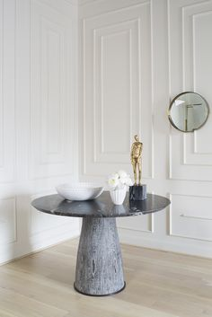KELLY WEARSTLER | CAMDEN TABLE. Solid wire brushed cerused Wenge base and cosmic marble top