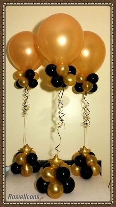 balloon centerpieces - Yahoo Image Search Results Ballon-Mittelstücke - Yahoo Image Search Results Anniversary Decorations, Graduation Decorations, 50th Wedding Anniversary, Birthday Decorations, Graduation Centerpiece, 60th Birthday Party, 50th Party, Gold Party, Ballon Decorations