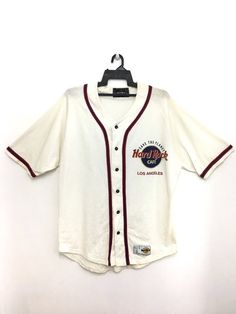 67d911552 Rare!!! Vintage 90s HARD ROCK Cafe Los Angeles Baseball Jersey Shirt Large  Size Made In America