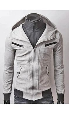 Garrett - Layered, zip pocket hoodie in Light Grey