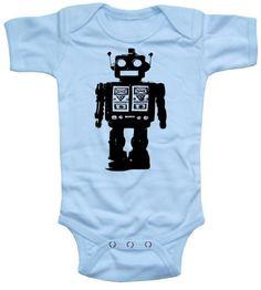 Futuristic Robot Short Sleeve Sky Blue Baby Boy by happyfamily