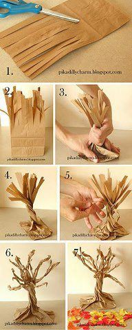 DIY Paper Bag Fall Tree diy craft crafts diy crafts kids crafts autumn crafts fall crafts crafts for kids Thanksgiving Crafts, Holiday Crafts, Thanksgiving Centerpieces, Thanksgiving Feast, Fall Halloween, Halloween Crafts, Halloween Trees, Spooky Trees, Haunted Tree