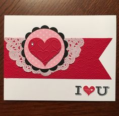 January Stamp Camp Card #5 - Stamp Set: Pictogram Punches. Punches used are Sweetheart & Itty Bitty Accents Heart. Embossing Folders used are Happy Heart & Elegant Dots.