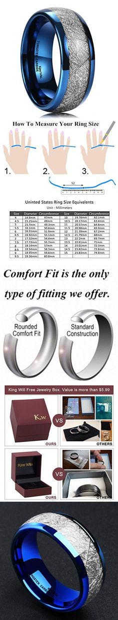 King Will 8mm Domed Blue Tungsten Carbide Ring Meteorite Inlay High Polished Wedding Band Comfort Fit (11.5)