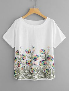 Stereo Embroidery Curved Hem Blouse Dress Painting, Fabric Painting, Shirt Embroidery, Embroidery Designs, T Dress, Blouse Online, T Shirts For Women, Clothes For Women, Printed Tees