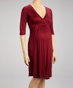 Take a look at this Burgundy Maternity Surplice Dress - Women on zulily today!