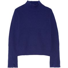 Proenza SchoulerRibbed Wool And Cashmere-blend Turtleneck Sweater (€710) ❤ liked on Polyvore featuring tops, sweaters, proenza schouler, storm blue, turtle neck top, loose fitting sweaters, loose tops and blue sweater