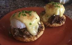 [homemade] Variation on Eggs Benedict with pulled pork and a buttermilk biscuit