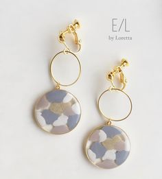 W circle marble pierce/earring(0013) | E/L byLoretta