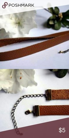 Genuine Leather Choker (tan) Unworn!  Genuine Leather* NWOT  $Reasonable Offers Etsy Shop Jewelry Necklaces