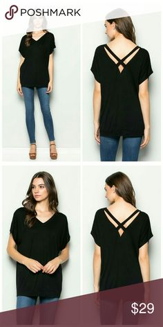 Lovely Black V-Neck Top Criss Cross Back   96% Rayon 4% Spandex   Price firm. No offers please! Tops Tees - Short Sleeve
