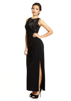 R RICHARDS Asymmetrical Sequin Gown