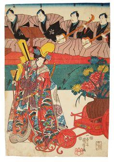 Utagawa Kuniyoshi (1797-1861), Shirabyoshi Dancer of Flowers, 1847-1850 seal marks, (368 x 248mm)