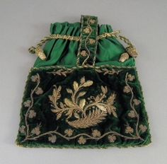 1889 Green velvet with shamrocks and bronze threaded embroidery. A wee dream.