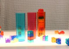 Light Table: Crystal Legos and transparent cups.  Pritzker Playspace. www.chicagochildrensmuseum.org
