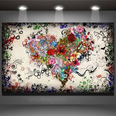 no frame modern wall art picture heart flowers painting on canvas canvas prints painting pictures decor for living room
