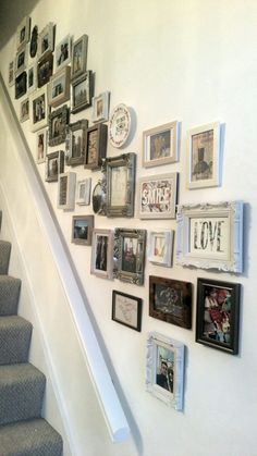 Shabby chic gallery wall. Created with a variety of different frames from vintage charity shop finds to basic ikea frames covered with washi tape. It's turned out great!