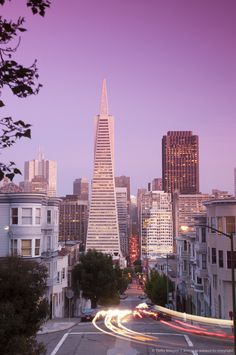 Downtown and TransAmerica Building from Telegraph Hill Historic District. San Francisco.