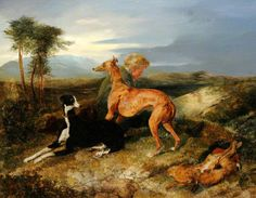 A Boy and Two Greyhounds Resting  by Edwin Henry Landseer