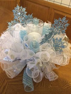 Deco Mesh Snowflake Winter Candle Ring