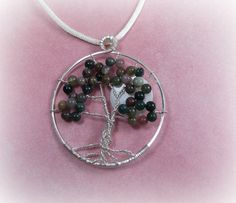 Fancy Jasper Tree of Life Necklace with Moon by TheBeadedButterfly, $25.00