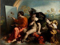Dosso Dossi, Giove pittore di farfalle, Mercurio e la Virtù, 1523-24