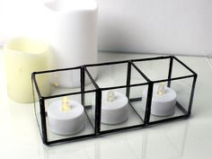 Geometric Glass Tea Light Candle Holder - Stained Glass Decor - Home Decor- 3 Sizes