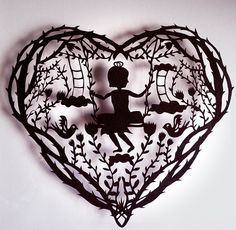 Original Paper Cut silhouette childhood by evillittlefingers