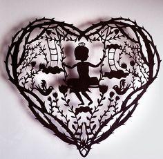 Original Paper Cut silhouette childhood by evillittlefingers