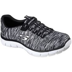 Skechers Relaxed Fit Empire Game On Women's Shoes (83 CAD) ❤ liked on Polyvore featuring shoes, grey, flexible shoes, grey slip on shoes, skechers shoes, traction shoes and slip-on shoes