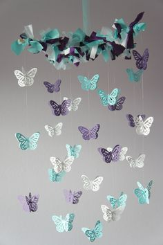 Perfect mobil with colors and all for the nursury!!!! Butterfly Mobile- Nursery Decor, Baby Shower Gift, Nursery Mobile. $35.00 USD, via Etsy.