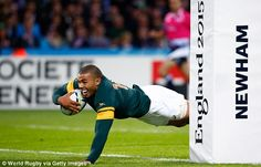 Bryan Habana made Rugby World Cup history as the South Africa wing scored three tries during their emphatic win over the USA. Habana's tries see him equal Jonah Lomu's RWC total. Jonah Lomu, Rugby World Cup, Scores, Finals, Olympics, England, Hat, Chip Hat, Final Exams