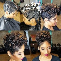 Gorgeous fingerwave and perm rod wet set on natural hair. Height at the crown and sleek waves around the sides. Short Black Hairstyles, Short Hair Cuts, Girl Hairstyles, Fashion Hairstyles, Pixie Cuts, Asymmetrical Hairstyles, Short Wavy, American Hairstyles, Love Hair