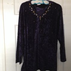 Ladies blouse Crush velvet purple pullover top with gold color accents Tops Blouses