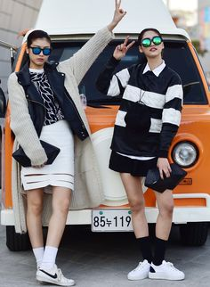 Street style: Chae Yul and Jo Eun Jin at Seoul Fashion Week Fall 2015 shot by Baek Seung Won