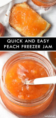 Quick and Easy Peach Freezer Jam Recipe - Belly Full This Quick and Easy Peach Freezer Jam is wonderful on toast, with cream cheese and crackers, or even ice cream. Prepped in just 15 minutes! Peach Freezer Jam, Strawberry Freezer Jam, Freezer Jam Recipes, Jelly Recipes, Canning Recipes, Fruit Recipes, Dessert Recipes, Recipies, Nutella Recipes