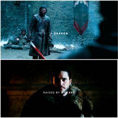 "(GoT) + (Jon Snow) + (""A dragon raised by wolves."")"