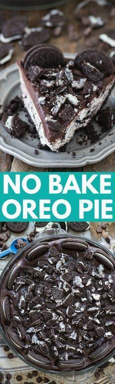 The best no bake oreo pie! Oreo crust, oreo cream cheese filling, chocolate ganache topped with oreos!!