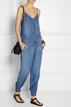 Copy-catting this with McCalls M6969 in view C! Maybe in black rayon challis?  Splendid | Washed-chambray jumpsuit | NET-A-PORTER.COM
