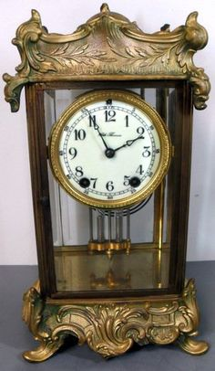Seth Thomas Crystal Regulator Mantle Clock - Ornate French Victorian Art Metal Case, Four Beveled Edge Glass Panels, Two Access Doors, Arabic Numeral Dial, Time And Strike Movement, Faux Mercury Pendulum