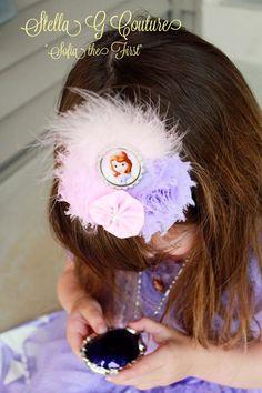 Sofia the First Princess Headband--Sofia the First, Birthday, Dress Up, Costume , Princess Headband, Disney Princess, Pink, Purple, Feathers