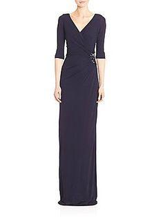 797ae5668f Teri Jon by Rickie Freeman - Three-Quarter Sleeves Embellished Side Gown