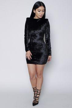 Black Velvet Bodycon Dress Dressy Outfits, Fashion Outfits, Fall Fashion, Holiday Party Outfit, Party Outfits, Velvet Bodycon Dress, New Years Eve Dresses, All Black Everything, Black Velvet