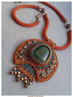 Embroidered+Necklace++Moimira++Terracota++Bead+crochet+by+BeJazz,+$75.00