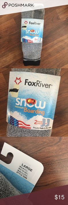 New 2 Pairs Premium Snowboarding Socks Fox River new snowboarding socks. Package includes 2 Pairs. Made in USA. Made with a Merino wool blend. Brand new in package. Medium weight. Men's size 9-11.5, women's size 10-12.5. Fox River Accessories Hosiery & Socks