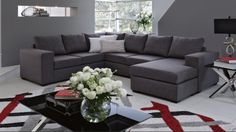 Hellet Fabric Corner Lounge with Chaise and Sofa Bed - Lounges - Living Room - Furniture, Outdoor & BBQs | Harvey Norman Australia