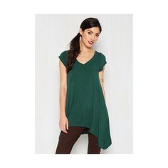 Long Short Sleeves A Crush on Casual Tunic (€27) ❤ liked on Polyvore featuring tops, tunics, apparel, green, knit top, short sleeve knit, short sleeve tunic, v neck knit top, short sleeve tops and loose tunic