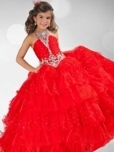 halter red pageant dresses for girls glitz kids prom dresses girls ball gown party dress organza corset girls pageant dresses Kids Flower Girl Dresses, Little Girl Pageant Dresses, Girls Dresses, Pagent Dresses For Kids, Formal Dresses, Stylish Dresses, Cheap Dresses, Formal Wear, Evening Dresses