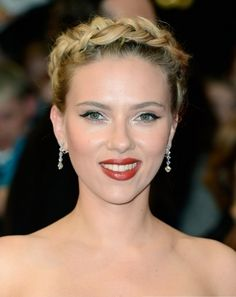 Scarlett Johansson looks smashing in a braided up-do!