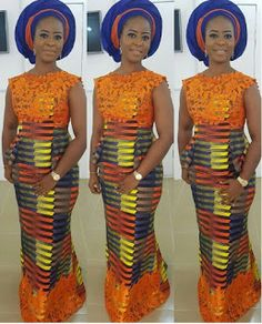 Kitenge mixed with lace, this would make a big statement at any occasion...                                                               ...